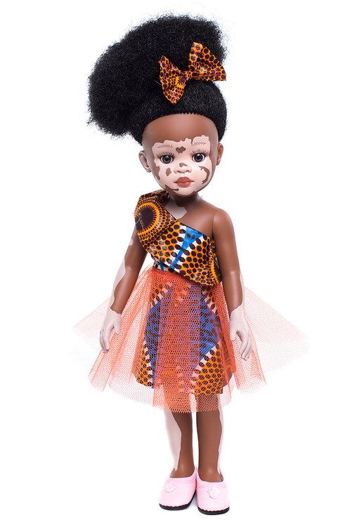 Ama - Cocoa Butter Scented Afro Hair Vitiligo Doll