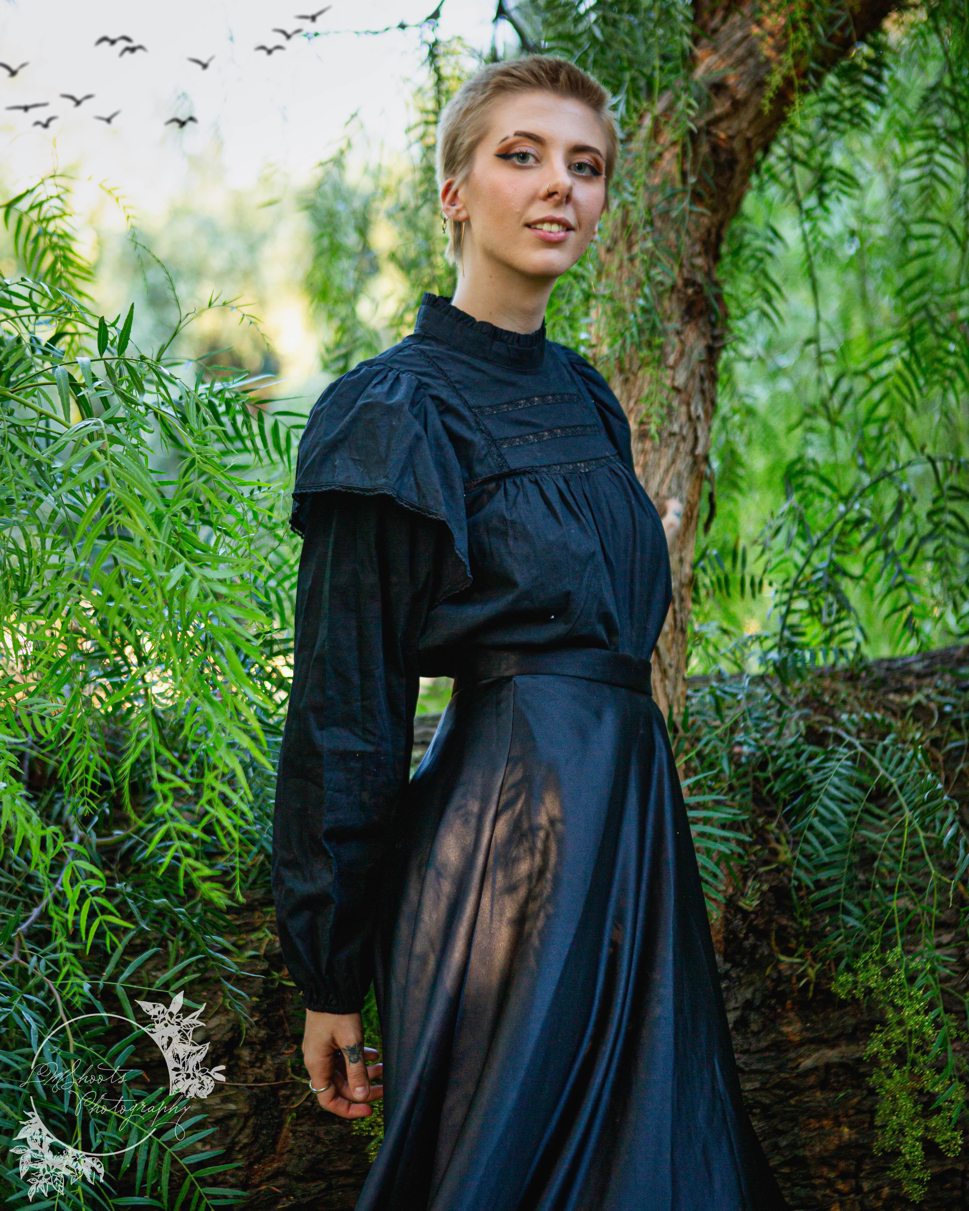 senior in a goth dress