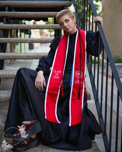 senior sitting on the step