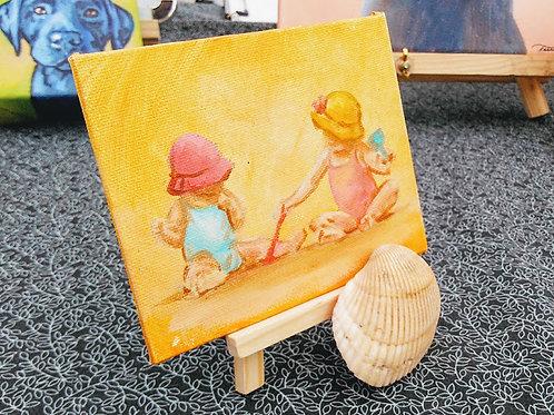 "Mini Magnet Painting - girls playing beach, 6""x4"""
