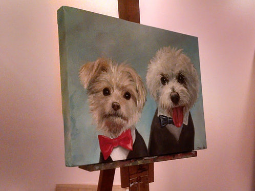"FOUR Pet Portrait, 11"" x 14"" or larger, 3 pets on one canvas"