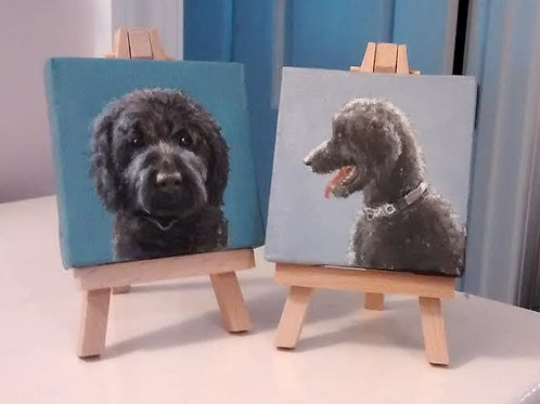 "Two 3""x3"" Mini Pet Portraits"