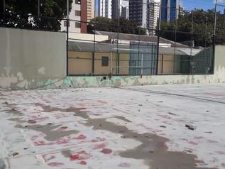 Evolução na reforma da quadra de Futsal