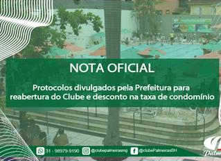 NOTA OFICIAL – Protocolos divulgados pela Prefeitura para reabertura do clube e desconto da taxa de