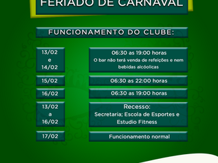 Atenção para o horário de Funcionamento no feriado de Carnaval!