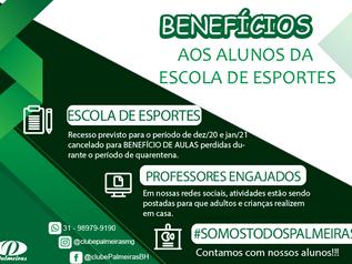 Benefícios aos alunos da Escola de Esportes