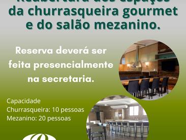"""Reaberturas dos espaços da """"churrasqueira gourmet"""" e do """"salão Mezanino"""""""