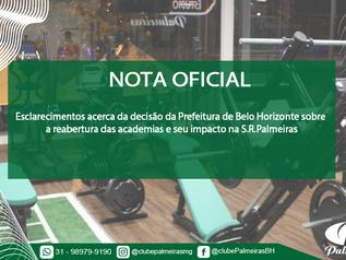 Nota Oficial reabertura Estúdio Fitness Palmeiras
