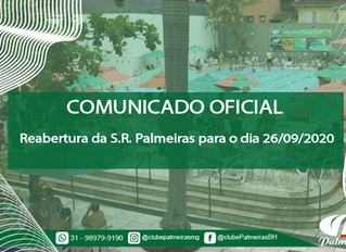 COMUNICADO – Reabertura da S.R. Palmeiras para o dia 26/09/2020