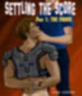"Book cover for straight to gay jock dominaton erotica series ""Settling the Score"""
