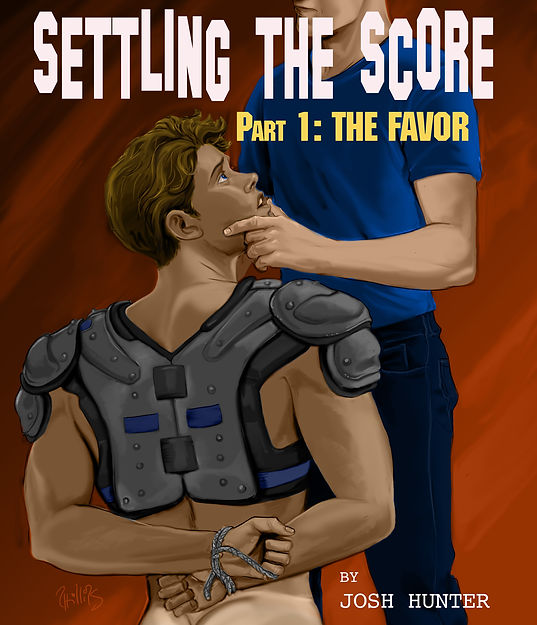 """Book cover for straight to gay jock dominaton erotica series """"Settling the Score"""""""