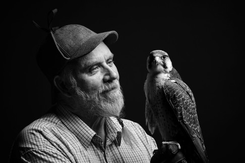 Owner and Lanner Falcon B&W