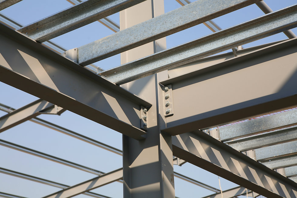 Structural steel framework on new indust