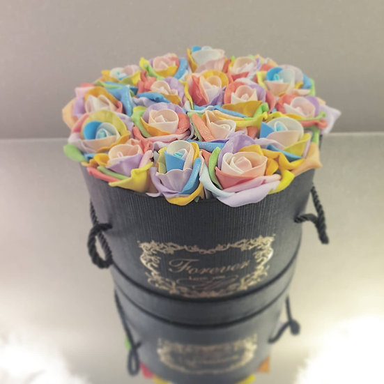 Forever Flowers Rainbow in Black Hat Box