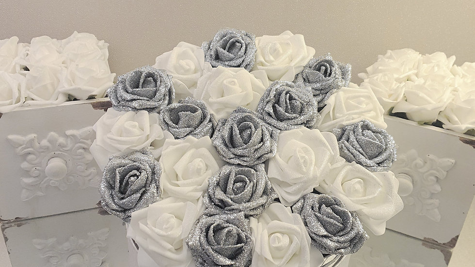 Large Fragranced Forever Flowers White and Silver in Silver Hat Box