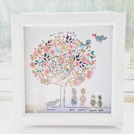"Pebble Art Frame Family Tree 8""x 8"""