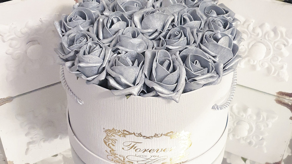 Forever Flowers Silver in White Hat Box