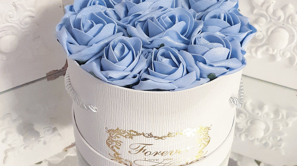 Forever Flowers Blue in White Hat Box