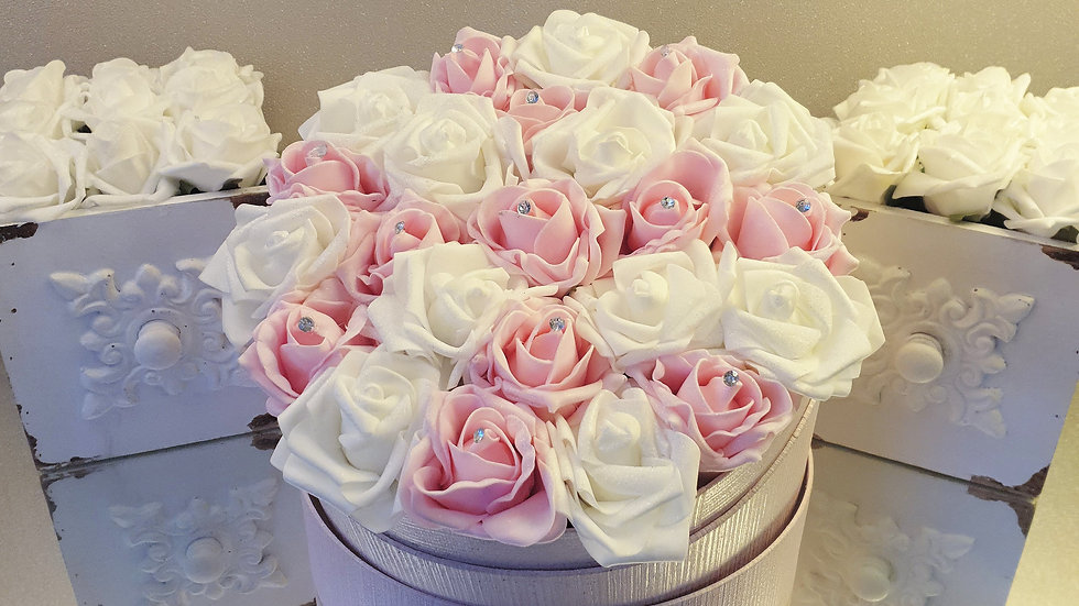 Large Fragranced Forever Flowers White and Pink in Pink Hat Box