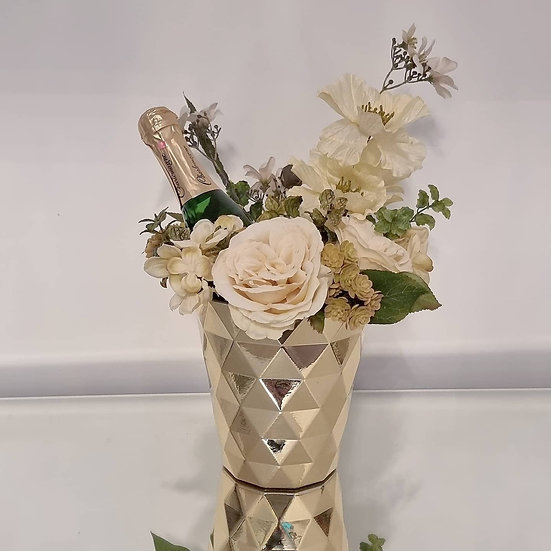 Forever Flowers Gold Geometric Vase