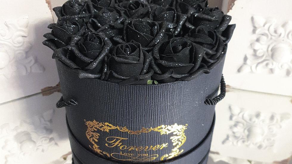 Forever Flowers Black in White Black Box