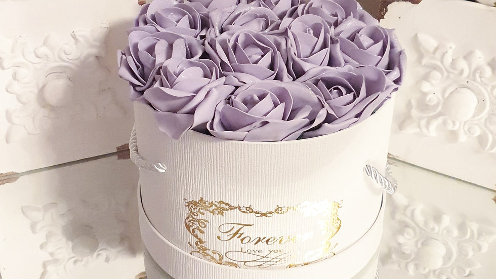 Forever Flowers Lilac in White Hat Box