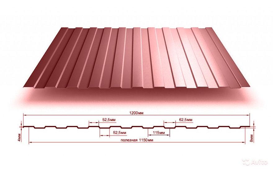 Профлист С8 2м коричневый RAL8017 0,5 мм