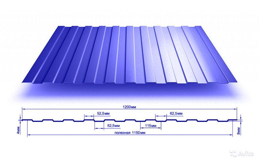 Профлист С8 2м синий RAL5005 0,5 мм
