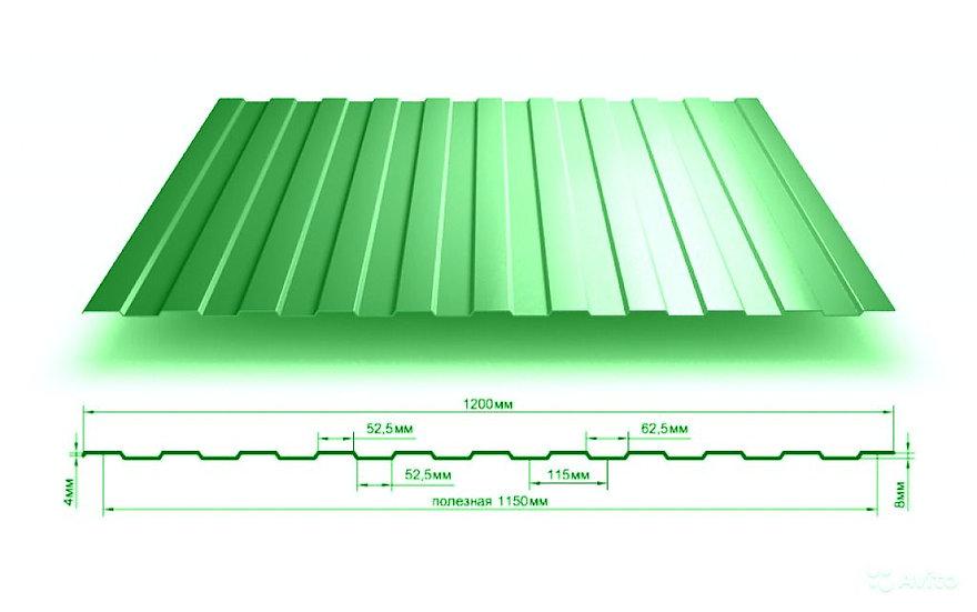 Профлист С8 2м зеленый RAL6005 0,5 мм