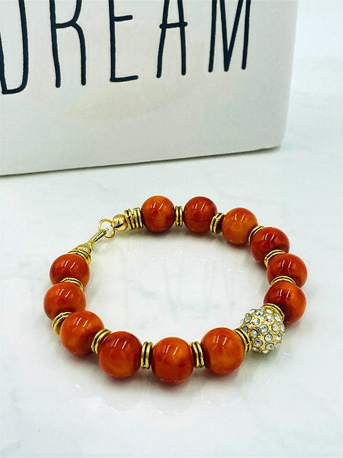 Orange, Gold and Pave Diamond Bracelet