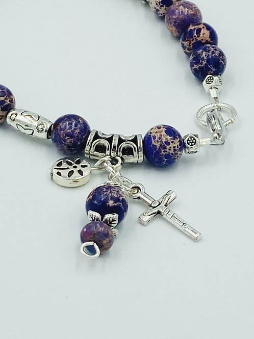 Purple Imperial Jasper and Silver Bracelet