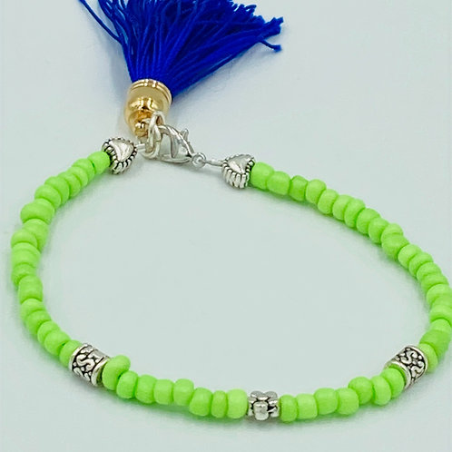 Lime Green Blue Tassel Bracelet
