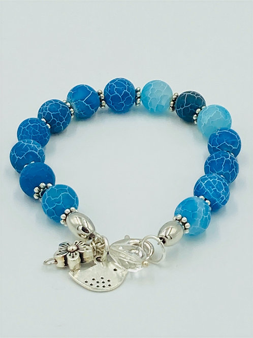 Blue Crackled Agate and Silver Bracelet
