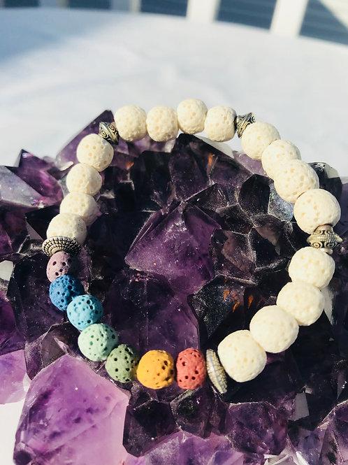 White Lava Diffuser Chakra Bracelet