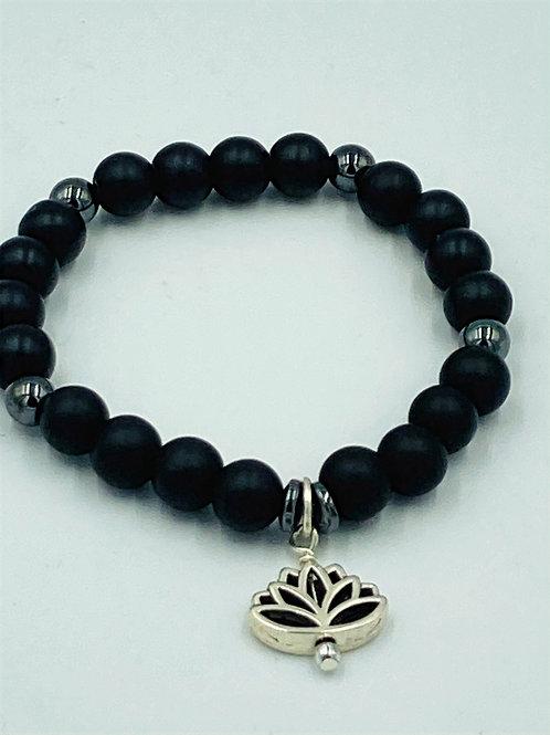 Black Bracelet with Lotus Charm