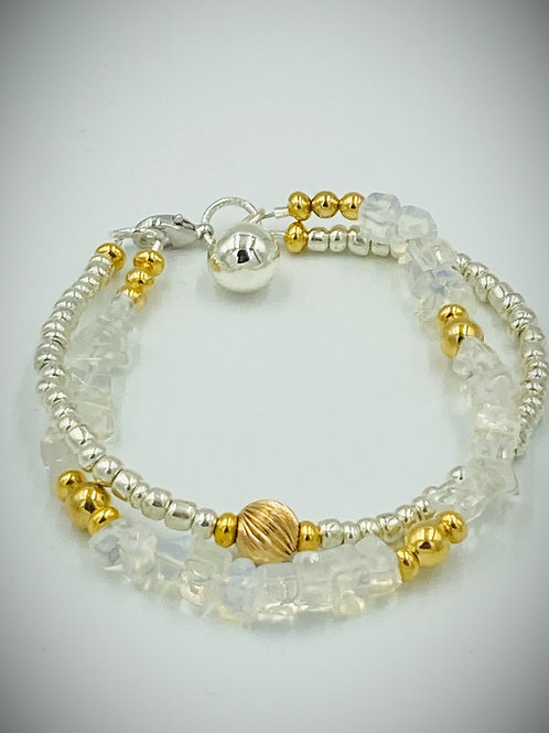 Raw Opals, 14K Gold, and Silver Bracelet