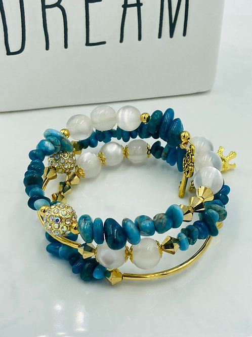 Blue and Gold Memory Wire Bracelet