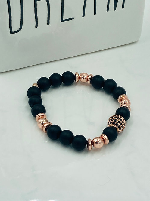 Black Glass and Rose Quartz Bracelet