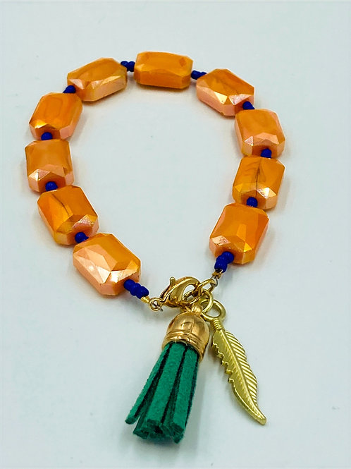 Orange, Blue and Gold Bracelet