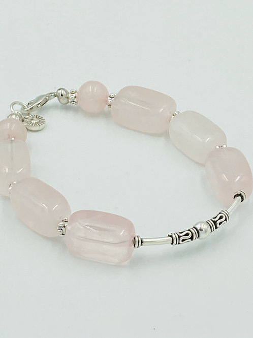 Rose Quartz Nugget and KHT Silver Bracelet