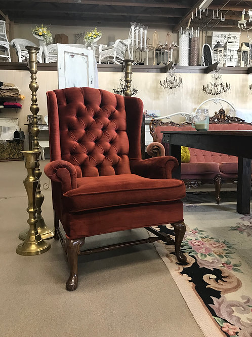 Ruby Velvet Wingback Chair