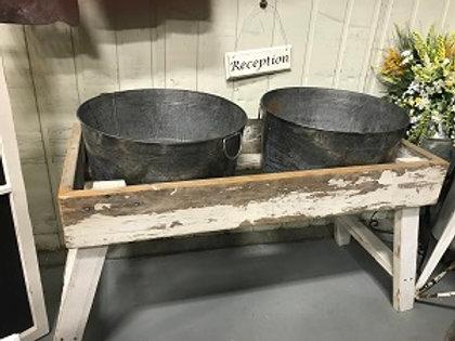 White Wood W/ Galvanized Buckets