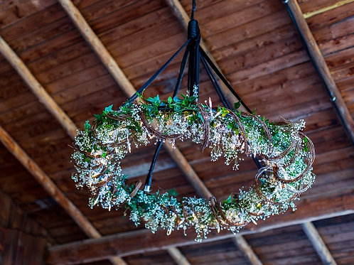 Twig Chandelier with Greens and Babies Breath