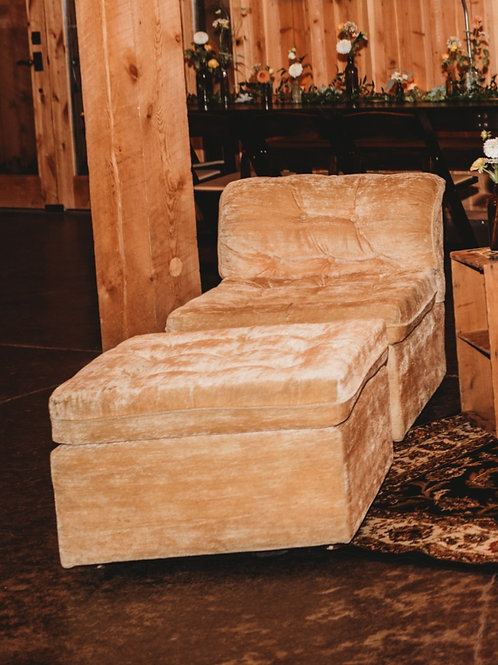 Gold Crushed Chair and Ottoman