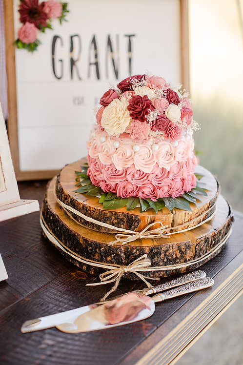 Wood Round Cake Plate