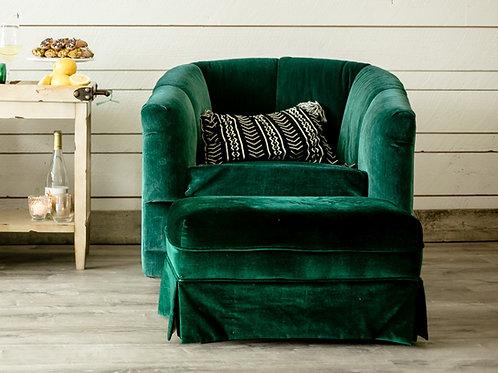 Green Velvet Chair and Ottoman