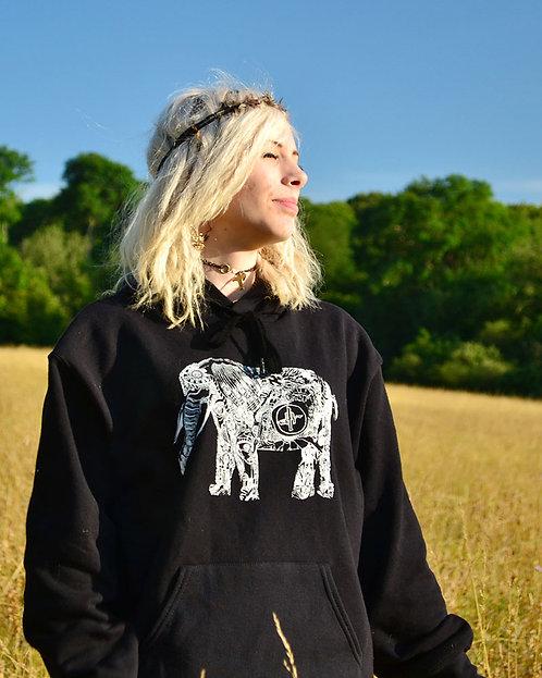 Black Hoody with Dubtribu Elephant