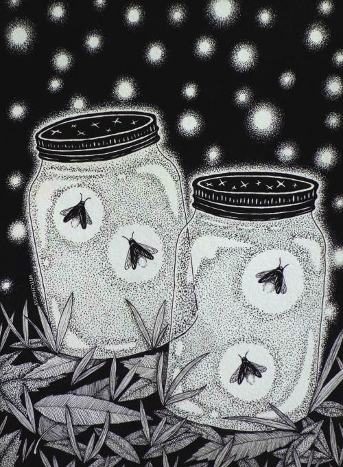 fireflies in mason jars