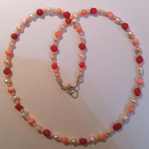 Collana corallo Rosso, Rosa e Perle acq.dolce
