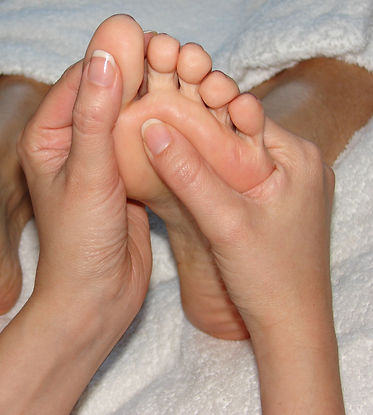 Foot reflexology helps ease aches and pains in body.